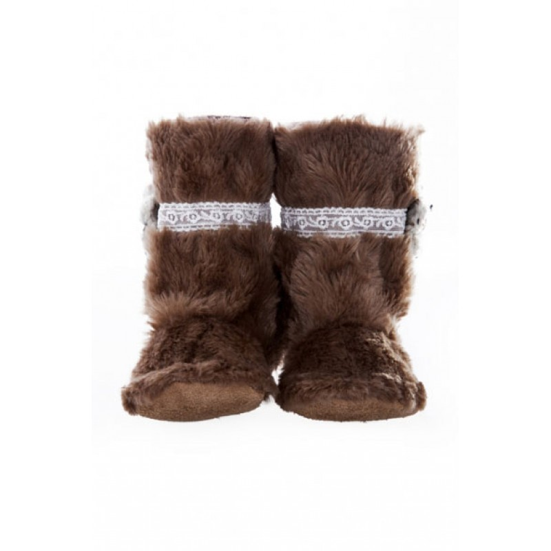 Fawn Fur Lace and Flower Boots