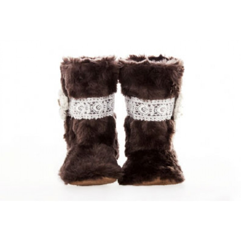 Brown Fur Lace and Flower Boots
