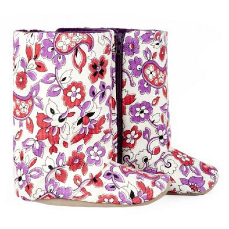 Floral Corduroy Boots