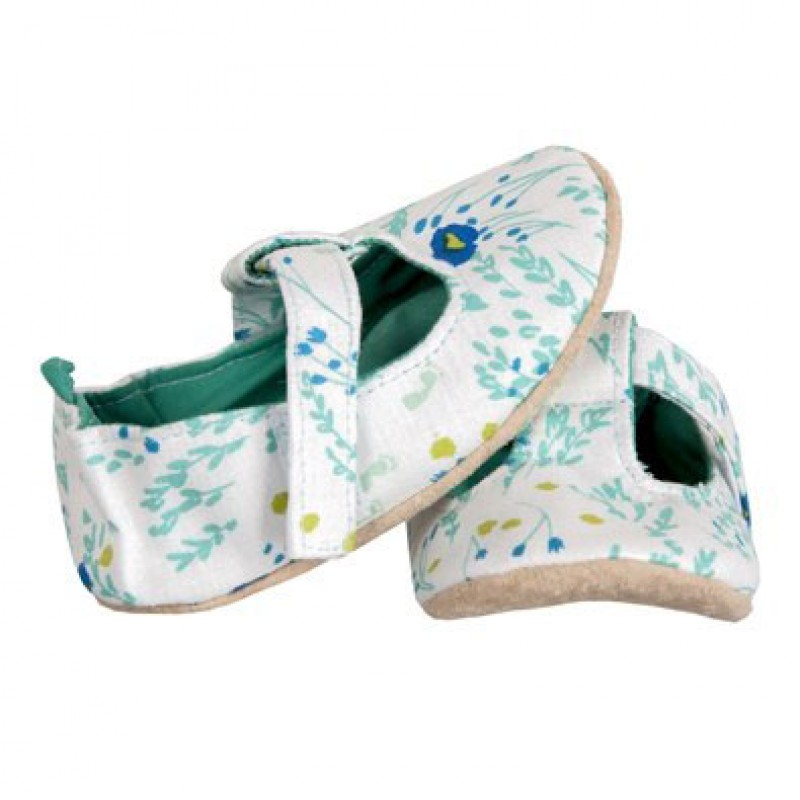 Green and Blue Floral Mary Janes
