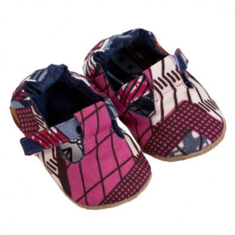 Pink Wax Print Mary  Janes