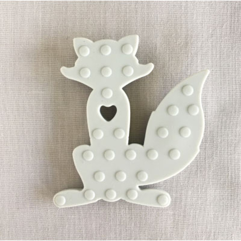 Dotted Fox Silicone Teether in Grey